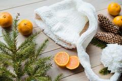 Concepto del Año Nuevo Decoraciones de la Navidad de ramas del abeto y de las frutas de la mandarina en fondo Foto de archivo