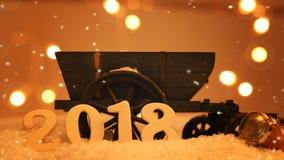 Concepto 2018 del Año Nuevo en nieve Foto de archivo libre de regalías