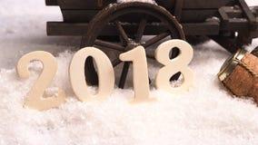 Concepto 2018 del Año Nuevo en nieve Fotos de archivo