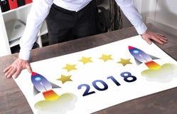Concepto 2018 del Año Nuevo en un escritorio Foto de archivo