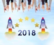 Concepto 2018 del Año Nuevo en una pared Fotografía de archivo libre de regalías