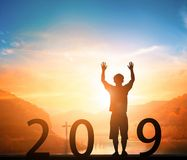 Concepto del Año Nuevo: nuevas metas, nuevas direcciones, nuevas esperanzas en 2019 fotografía de archivo libre de regalías