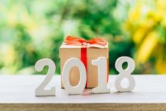Concepto del Año Nuevo para 2018: La madera numera 2018 en la sobremesa de madera Fotografía de archivo