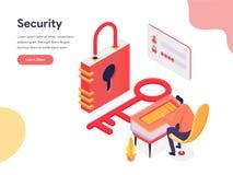Concepto del acceso y del ejemplo de la seguridad Concepto de dise?o isom?trico del dise?o de la p?gina web para la p?gina web y  libre illustration