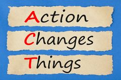 Concepto del ACTO de las cosas de los cambios de la acción Foto de archivo
