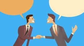 Concepto del acuerdo de la comunicación de la burbuja de la caja de la charla de Hand Shake Talking de dos hombres de negocios, a ilustración del vector