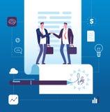 Concepto del acuerdo del negocio Apretón de manos del hombre de negocios en el contrato con la firma Inversión, vector de la gran stock de ilustración
