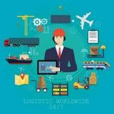 Concepto del agente del encargado de la logística del vector Ejemplo del servicio del vector del cargo de la entrega Fotografía de archivo