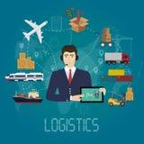 Concepto del agente del encargado de la logística del vector Ejemplo del servicio del vector del cargo de la entrega Fotos de archivo