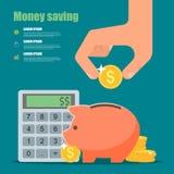 Concepto del ahorro del dinero Ejemplo del vector en plano Fotos de archivo