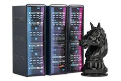 Concepto del AI del ajedrez de ordenador, representación 3D Foto de archivo