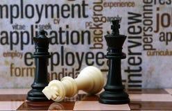 Concepto del ajedrez y del empleo Imágenes de archivo libres de regalías