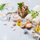 Concepto del ajuste de la salud del balneario, fondo con crema del jabón del aceite esencial Fotografía de archivo