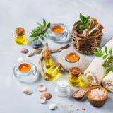 Concepto del ajuste de la salud del balneario, fondo con crema del jabón del aceite esencial Imagenes de archivo