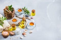 Concepto del ajuste de la salud del balneario, fondo con crema del jabón del aceite esencial Foto de archivo