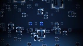 Concepto del algoritmo de la inteligencia artificial o de Nanobytes metrajes
