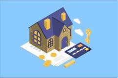Concepto del alquiler y de la hipoteca de la casa, propiedades inmobiliarias, inversión o ejemplo del vector del concepto de la c stock de ilustración