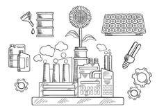 Concepto del ambiente con la planta industrial Imagen de archivo libre de regalías