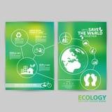 Concepto del ambiente de la plantilla del folleto Deje la reserva del ` s el mundo junto Fotos de archivo libres de regalías