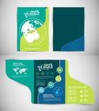 Concepto del ambiente de la plantilla del folleto Deje la reserva del ` s el mundo junto Foto de archivo