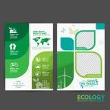 Concepto del ambiente de la plantilla del folleto Deje la reserva del ` s el mundo junto Foto de archivo libre de regalías