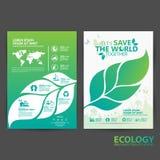 Concepto del ambiente de la plantilla del folleto Deje la reserva del ` s el mundo junto Imagen de archivo
