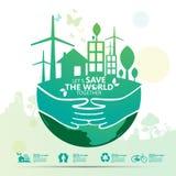 Concepto del ambiente Deje la reserva del ` s el mundo junto vector el ejemplo Imagenes de archivo