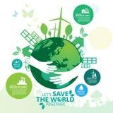 Concepto del ambiente Deje la reserva del ` s el mundo junto vector el ejemplo Foto de archivo