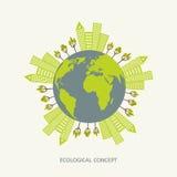 Concepto del ambiente ecológico en estilo plano Foto de archivo libre de regalías
