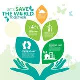 Concepto del ambiente mundial Deje la reserva del ` s el mundo junto vector el ejemplo Imagen de archivo