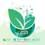 Concepto del ambiente mundial Deje la reserva del ` s el mundo junto vector el ejemplo Fotos de archivo libres de regalías