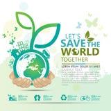 Concepto del ambiente mundial Deje la reserva del ` s el mundo junto vector el ejemplo Imágenes de archivo libres de regalías