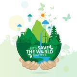 Concepto del ambiente mundial Deje la reserva del ` s el mundo junto vector el ejemplo Foto de archivo libre de regalías
