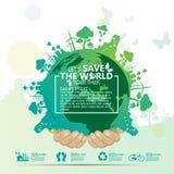 Concepto del ambiente mundial Deje la reserva del ` s el mundo junto vector el ejemplo Fotografía de archivo