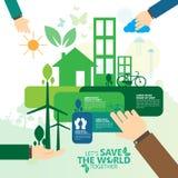 Concepto del ambiente mundial Deje la reserva del ` s el mundo junto vector el ejemplo Fotografía de archivo libre de regalías