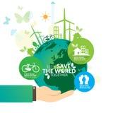 Concepto del ambiente mundial Deje la reserva del ` s el mundo junto vector el ejemplo Imagen de archivo libre de regalías
