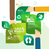 Concepto del ambiente mundial Deje la reserva del ` s el mundo junto vector el ejemplo Fotos de archivo