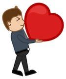 Concepto del amor - corazón pesado - hombre del personaje de dibujos animados Foto de archivo libre de regalías