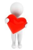 Concepto del amor. persona 3d con el corazón rojo Imagen de archivo libre de regalías