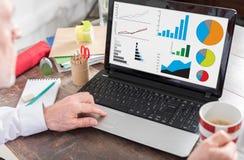 Concepto del análisis gráfico en una pantalla del ordenador portátil Imagen de archivo libre de regalías
