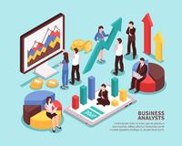 Concepto del analista del negocio stock de ilustración