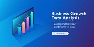 Concepto del analytics del negocio, visualización de los datos, infographics 3d, aumento financiero, cartas e illustrat isométric ilustración del vector