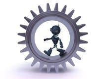 Concepto del androide y de los engranajes Foto de archivo libre de regalías