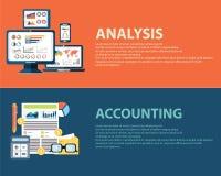 Concepto del análisis de negocio del estilo y finanzas infographic planos de la contabilidad Plantillas de las banderas del web f Fotos de archivo libres de regalías