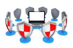 Concepto del antivirus. Ordenador portátil protegido por los escudos libre illustration