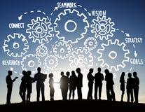 Concepto del apoyo a empresas de Team Teamwork Goals Strategy Vision Imagenes de archivo