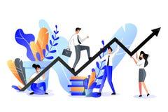 Concepto del apoyo a empresas y de la sociedad Ejemplo plano de moda del vector Subidas del hombre de negocios en el gráfico del  stock de ilustración