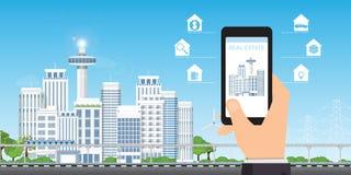 Concepto del app de las propiedades inmobiliarias en una pantalla del teléfono móvil ilustración del vector