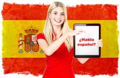 Concepto del aprendizaje de idiomas españoles Imagen de archivo libre de regalías