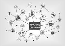 Concepto del aprendizaje de máquina con el texto y la red de iconos conectados en el fondo blanco como ejemplo libre illustration